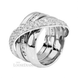 14k White Gold Modern Style 2-Tone Gold and Diamond Cocktail Ring
