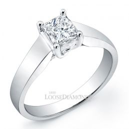 18k White Gold Modern Style Tapered Solitaire Engagement Ring