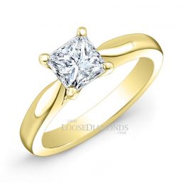 18k Yellow Gold Modern Style Solitaire Engagement Ring