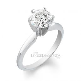 18k White Gold Classic Style Solitaire Engagement Ring