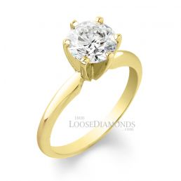 18k Yellow Gold Classic Style Solitaire Engagement Ring