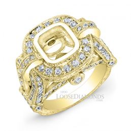 18k Yellow Gold Vintage Style Hand Engraved Diamond Engagement Ring
