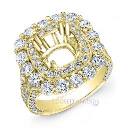 14k Yellow Gold Vintage Style Halo & Hand Engraved Diamond Engagement Ring