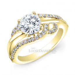 14k Yellow Gold Art Deco Style Twisted Diamond Engagement Ring
