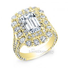 14k Yellow Gold Vintage Style Double Halo Diamond Engagement Ring