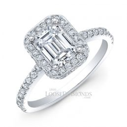 14k White Gold Modern Style Cathedral Diamond Halo Engagement Ring