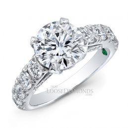 14k White Gold Modern Style Cathedral Diamond Engagement Ring