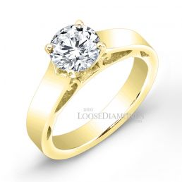 14k Yellow Gold Modern Style Solitaire Engagement Ring