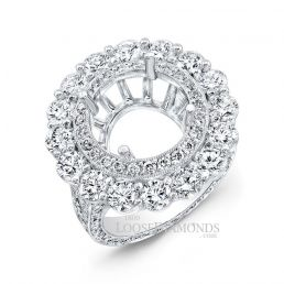 18k White Gold Classic Style Hand Engraved Diamond Halo Engagement Ring