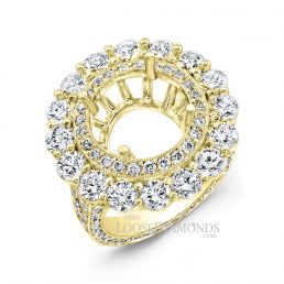 18k Yellow Gold Classic Style Hand Engraved Diamond Halo Engagement Ring