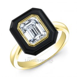 18k Yellow Gold Art Deco Style Engraved Onyx Halo Engagement Ring