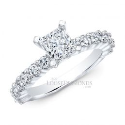 14k White Gold Classic Style Shared Prong Diamond Engagement Ring