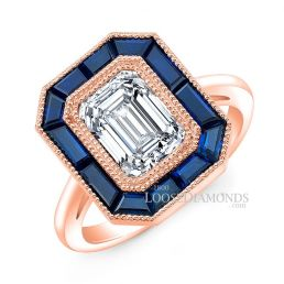 18k Rose Gold Art Deco Style Engraved Blue Sapphire Halo Engagement Ring