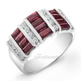 14k White Gold Classic Style Diamond & Ruby Cocktail Ring