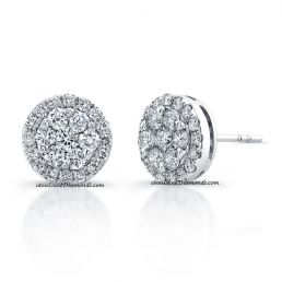 14k White Gold Classic Cluster Style Diamond Halo Earrings