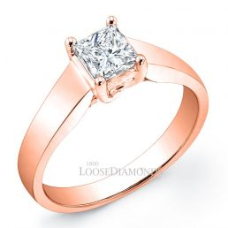 18k Rose Gold Modern Style Tapered Solitaire Engagement Ring