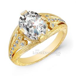 18k Yellow Gold Vintage Art Deco Style Engraved Diamond Engagement Ring