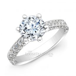 14k White Gold Classic Style Engraved Diamond Engagement Ring