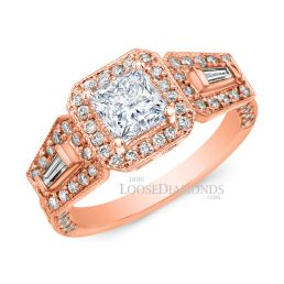 14k Rose Gold Art Deco Style Tri Color Gold Diamond Halo Engagement Ring