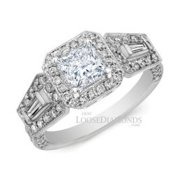 14k White Gold Art Deco Style Tri Color Gold Diamond Halo Engagement Ring