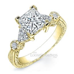 14k Yellow Gold Art Deco Style Engraved Diamond Engagement Ring
