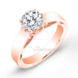 14k Rose Gold Modern Style Solitaire Engagement Ring