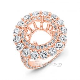 18k Rose Gold Classic Style Hand Engraved Diamond Halo Engagement Ring