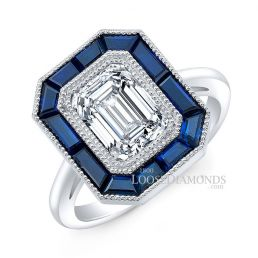 14k White Gold Art Deco Style Engraved Blue Sapphire Halo Engagement Ring