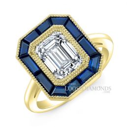 14k Yellow Gold Art Deco Style Engraved Blue Sapphire Halo Engagement Ring