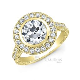18k Yellow Gold Vintage Style Hand Engraved Diamond Halo Engagement Ring