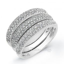 14k White Gold Classic Style Tri-Color Stackable Diamond Ring Set