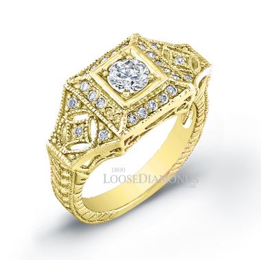 18k Yellow Gold Art Deco Style Engraved Diamond Engagement Ring